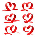 Heart from red ribbon set love simbol Royalty Free Stock Photography