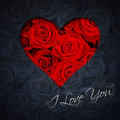 Heart of red roses greeting card with and text i love you Stock Images