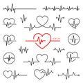 Heart rhythm set, Electrocardiogram, ECG - EKG signal Royalty Free Stock Photo