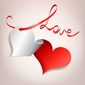 Heart with ribbon applique love vector illustration Stock Photo