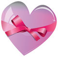 Heart with ribbon color illustration Royalty Free Stock Photos