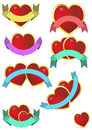 Heart ribbon illustration set of red with blank Stock Photo