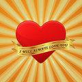 Heart with ribbon and phrase i will always love yo you vector concept illustration Stock Photography