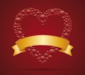 Heart and ribbon red with gold for your text Stock Photos