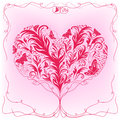 Heart with roots that had taken hand drawing floral stylized vector valentines greeting card Stock Photography