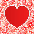 Heart rose background with vector illustration Royalty Free Stock Images