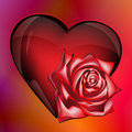 Heart with rose of glass at the iridescent background Royalty Free Stock Photos
