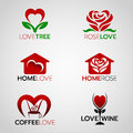 Heart and rose logo , home love logo and coffee and wine logo vector set design