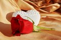 Heart and rose for marriage concept, close up Royalty Free Stock Photo