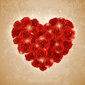 Heart of rose for valentine s day vector vintage background with Stock Photography