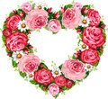 Heart roses frame Stock Photography