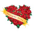 Heart of roses with gold ribbon. Stock Photography