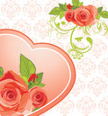 Heart with roses on the ornamental background Stock Photo