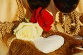 Heart, roses, play of golden hues, background Royalty Free Stock Photo