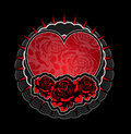 Heart roses tatoo template Royalty Free Stock Images