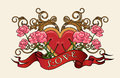 Heart with Roses Royalty Free Stock Photo