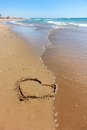 The heart on sand Stock Image