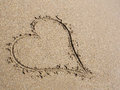 Heart in sand drawn the beach background Stock Image