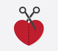 Heart scissors half cut in with Royalty Free Stock Photos