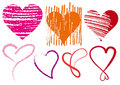 Heart scribbles, vector Royalty Free Stock Images