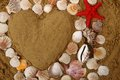 Heart from the sea shells and sand Royalty Free Stock Photo