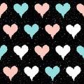Heart seamless pattern background. Doodle handmade blue, pink an