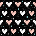 Heart seamless pattern background. Doodle handmade pink and whit