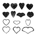 Heart. Set of black grunge hearts. Royalty Free Stock Photo