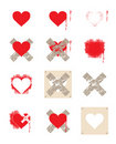 Heart set crosses Royalty Free Stock Photography
