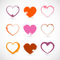 Heart Set. Grunge with Splashes, Stains, Blots. Royalty Free Stock Photo
