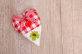 Heart with shamrock of cloth green and red lady bird Royalty Free Stock Images