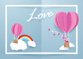 Heart shape balloons flying over clouds and rainbow in white frame background. Royalty Free Stock Photo