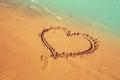 Heart shape on beach sand Royalty Free Stock Photo