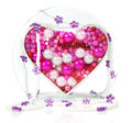 Heart shape of beads and jewelry Stock Photo