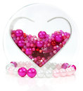 Heart shape of beads and jewelry Royalty Free Stock Images