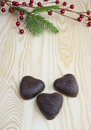 Heart shape biscuits red berries Christmas Stock Images