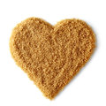 Heart shape of brown sugar Royalty Free Stock Photo