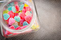 Heart shape candy colorful in the glass jar Stock Photo