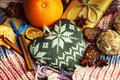 Heart shape, christmas gift boxes, orange, cookies and winter scarf Royalty Free Stock Photo
