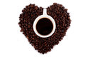 Heart shape coffee bean isolated Stock Image