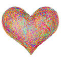 Heart shape composed of colorful striplines isolated on white high resolution d image Royalty Free Stock Images