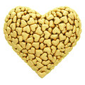 Heart shape composed of many golden hearts isolated on white high resolution d image Royalty Free Stock Photography