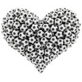 Heart shape composed of many soccer balls isolated on white high resolution d image Stock Image