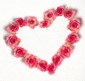Heart shape from dewy roses