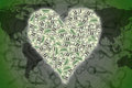 Heart shape with dollar bill Stock Photo