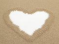 Heart shape drawn in sand with white space for text Royalty Free Stock Photos