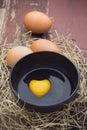 Heart Shape Egg Yolk. Royalty Free Stock Photo