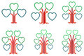 Heart shape frames tree designs Royalty Free Stock Image