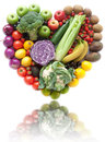 Heart shape fruits and vegetables Royalty Free Stock Photo