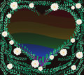 Heart shape in green pastel leafs coat buttons mexican daisy lgbt rainbow flag symbol background vector eps Royalty Free Stock Photography